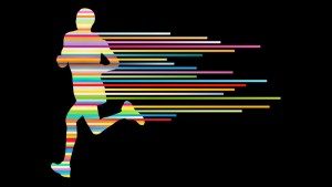 36769518 - man runner silhouette vector background template concept made of stripes